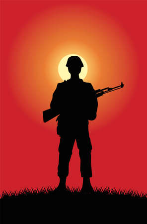 soldier with rifle figure silhouette at sunset scene vector illustration design