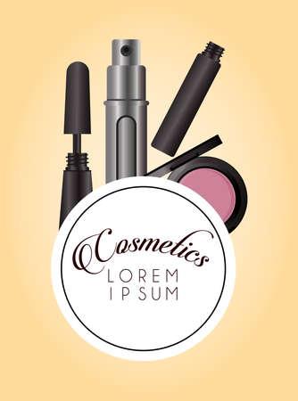 set of cosmetics makeup circular frame vector illustration design