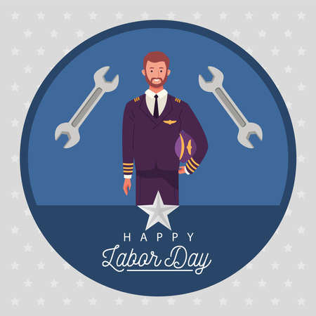happy labor day celebration with airplane pilot worker vector illustration design