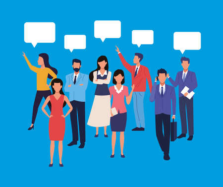 group of business people teamwork with speech bubbles characters vector illustration design