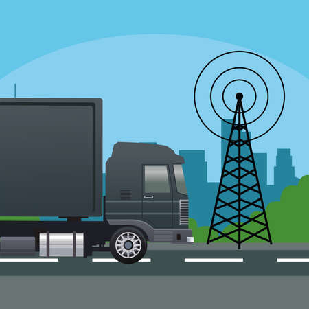 black truck car vehicle with telecommunications antenna vector illustration design