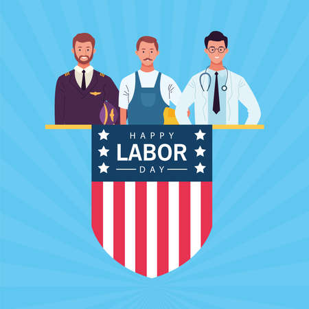 happy labor day celebration with workers and shield flag vector illustration design