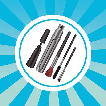 set of cosmetics makeup circular frame vector illustration design 矢量图像