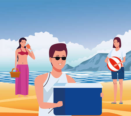 young people wearing swimsuits on the beach characters vector illustration design