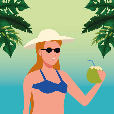 young woman wearing swimsuit drinking coconut cocktail vector illustration design