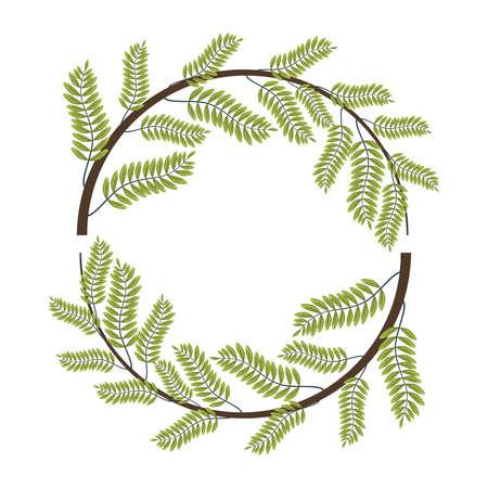 tropical leafs palm nature circular frame vector illustration design