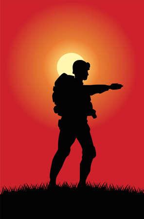 soldier figure silhouette in sunset scene vector illustration design Vector Illustratie