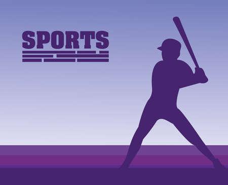 athletic man practicing baseball sport silhouette vector illustration design