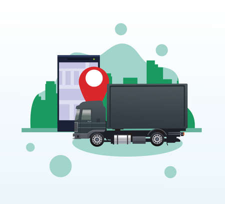 black truck car vehicle with smartphone and gps app vector illustration design