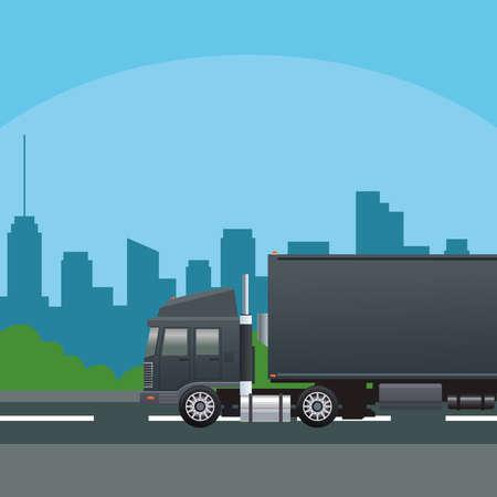 black truck car vehicle on the road scene vector illustration design Illusztráció