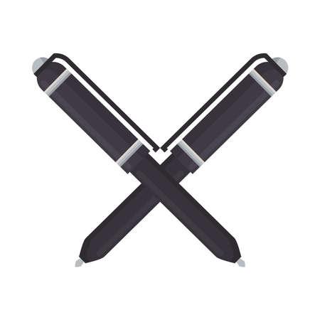 pens crossed school supplies isolated icon vector illustration design Illustration