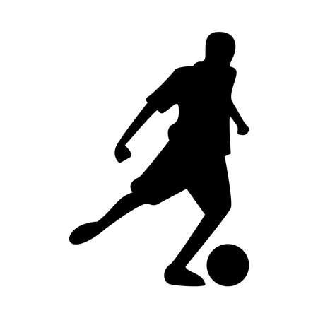 athletic man practicing soccer sport silhouette vector illustration design 向量圖像