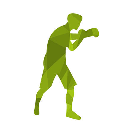 athletic man practicing boxing sport silhouette vector illustration design
