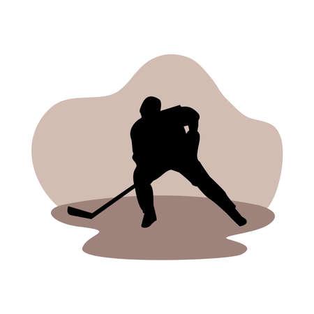 athletic man practicing hockey sport silhouette vector illustration design