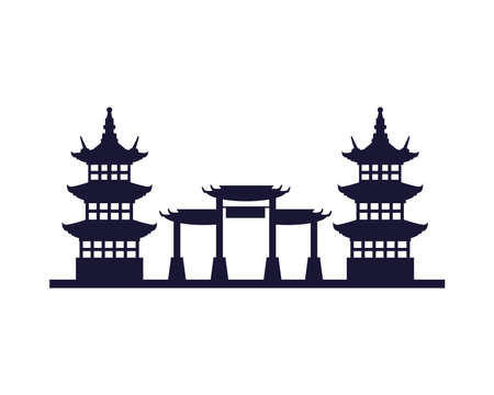 japanese archs and castles monuments architecture icon vector illustration design Ilustração