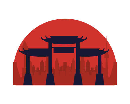 japanese archs monuments architecture icon vector illustration design