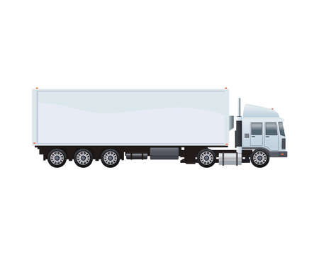 white truck car vehicle brand isolated icon vector illustration design