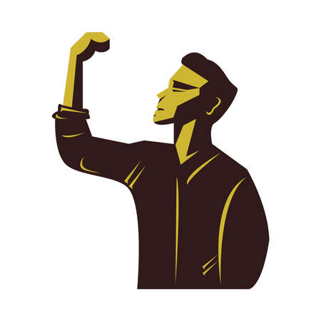 strong man celebrating wielding the hand vector illustration design