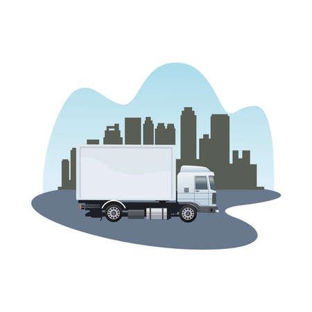 white truck car vehicle brand on the city vector illustration design