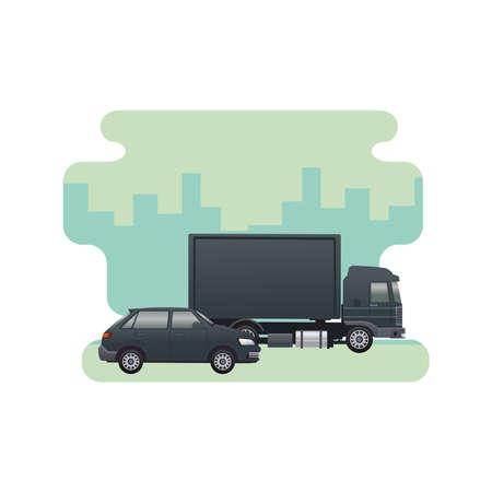 black truck and sedan vehicles brand isolated icon vector illustration design