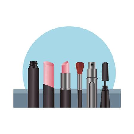 make up set products fashion vector illustration design 向量圖像