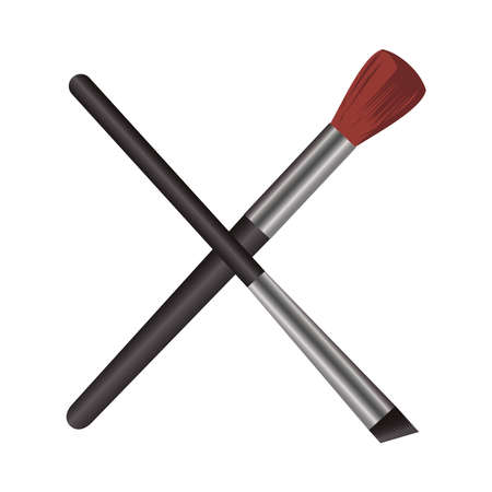 make up brushes crossed elements icons vector illustration design