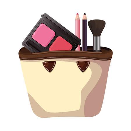 make up set products fashion in handbag vector illustration design