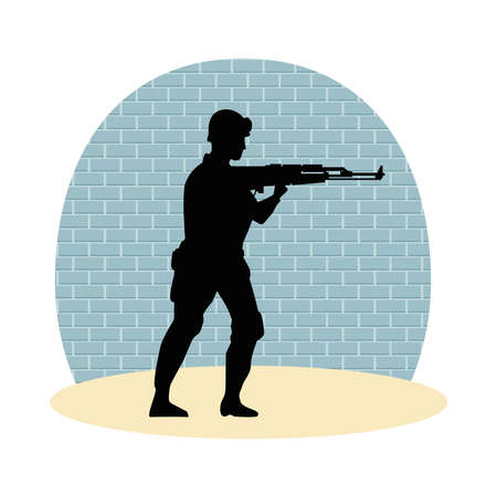 soldier military with rifle silhouette with wall background vector illustration design