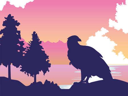 beautifull wild eagle in the landscape scene vector illustration design Stock Illustratie