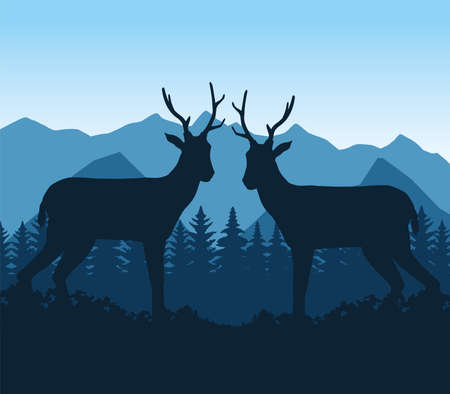wild reindeer animal in the camp scene vector illustration design