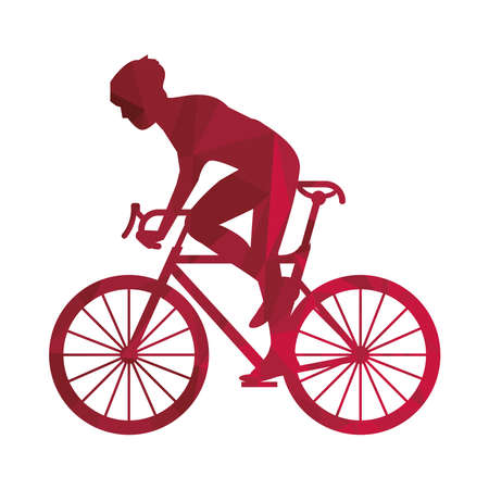 athletic man bike ride sport silhouette vector illustration design Illustration