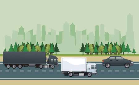 road cityscape scene with vehicles vector illustration design 向量圖像