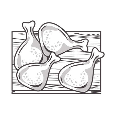 delicious chicken thighs fast food in wooden kitchen board vector illustration design