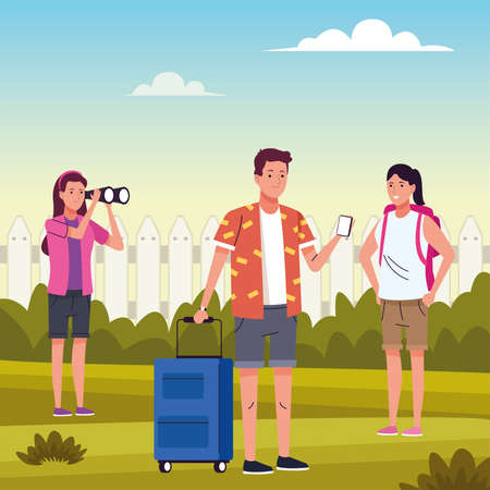 group of tourist people doing activities in the field vector illustration design