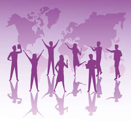 group of business people teamwork silhouettes and earth planet maps vector illustration design