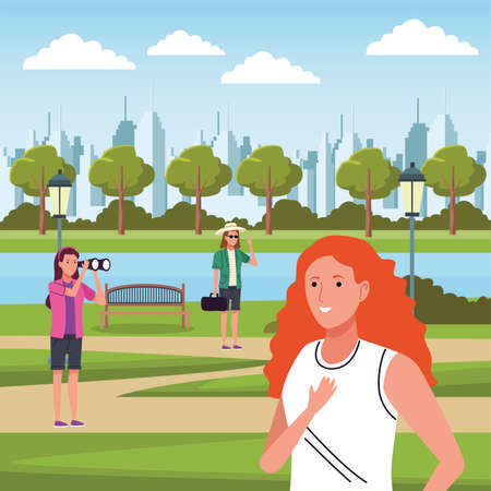 group of tourist girls doing activities in the camp vector illustration design