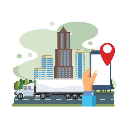white truck car with smartphone and gps application vector illustration design