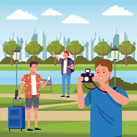 group of tourists men doing activities in the field vector illustration design