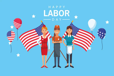 happy labor day celebration with workers and flags vector illustration design 向量圖像