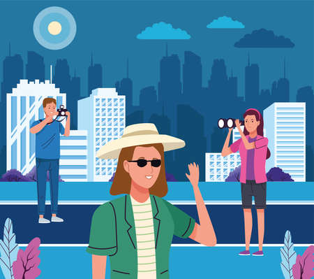 group of tourist people doing activities vector illustration design