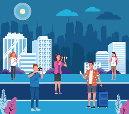 group of tourist people doing activities on the city vector illustration design