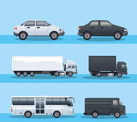 bundle of vehicles transport icons vector illustration design