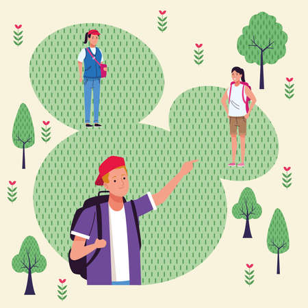 group of tourist people doing activities in the park vector illustration design Vectores