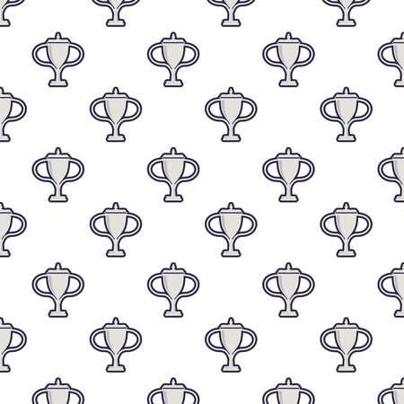 trophy cups awards pattern background vector illustration design