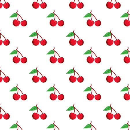 cherries fresh delicious fruits pattern background vector illustration design