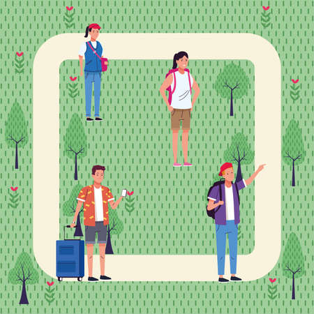 group of tourist people doing activities in the park vector illustration design Illustration