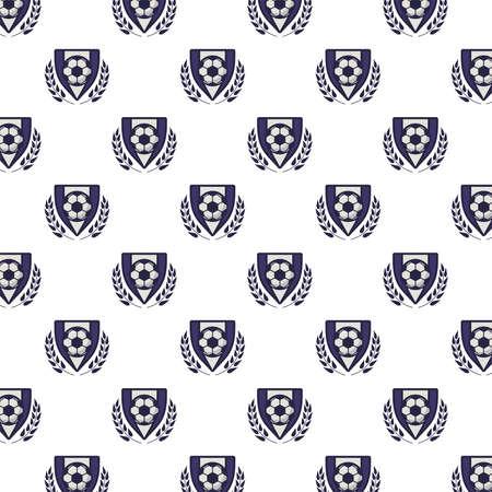 shields with soccer sport balloons pattern vector illustration design