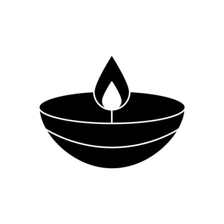 navratri candle style silhouette icon vector illustration design