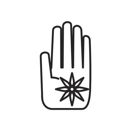 navratri hand with flower line style icon vector illustration design