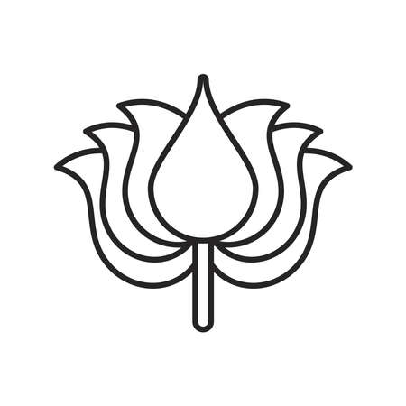 navratri lotus flower line style icon vector illustration design